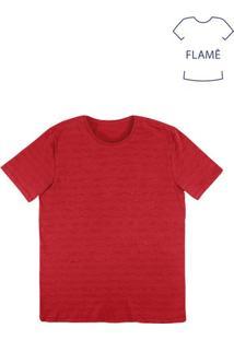 Camiseta Masculina Básica Em Malha De Algodão Flamê