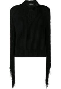 Calvin Klein 205W39Nyc Suéter Com Franjas - Preto