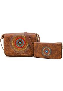 Kit De Bolsa + Carteira Mandala Bordada Alice Monteiro Nova Delhi - Tabaco
