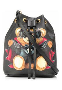 Moschino Bolsa Bucket Bat Teddy Bear - Preto