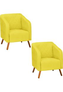 Kit 02 Poltrona Decorativa Silmara Suede Amarelo Pés Palito - D'Rossi