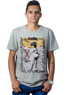 Camiseta Perplex Pin-Up Dinosaur Cinza