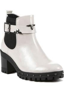 Bota Ankle Boot Feminina Ramarim Off White/Preto