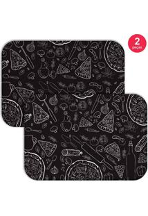 Jogo Americano Love Decor Pizza Preto