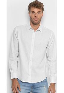 Camisa Colcci Slim Linho Masculina - Masculino-Off White