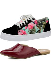 Kit Sapatilha Mule E Tênis Estampado Mr. Gutt Casual Bordo