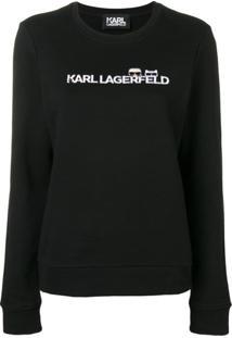 Karl Lagerfeld Blusa De Moletom Com Logo 'Ikonik' - Preto