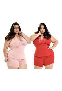 Kit 2 Short Doll Microfibra Plus Size Dakota Detalhe Renda Regata Rosê Vermelho