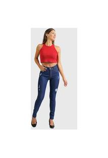 Calça Jeans Unik Skinny Destroyed Feminino