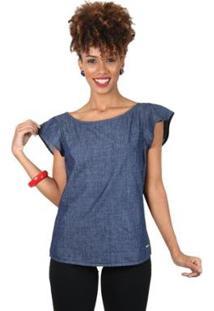 Blusa Latifundio Jeans Feminina - Feminino-Azul