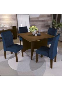 Conjunto Sala De Jantar Mesa E 4 Cadeiras Camomila Kappesberg Marrom Walnut/Azul Escuro