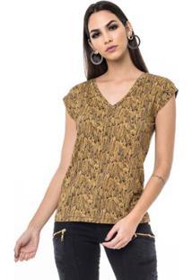 Camiseta Moikana Malha De Viscose Estampada Feminina - Feminino-Bege