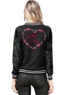 Jaqueta De Veludo Bandup - Geek Hello Kitty Flowery Heart Preto