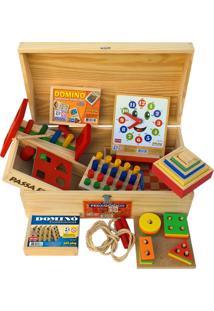 Baú Pedagógico Com 10 Jogos De Madeira - Jottplay