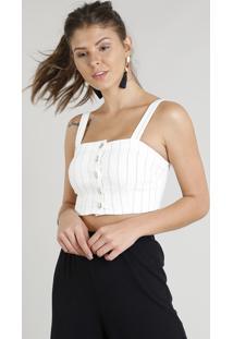 Top Cropped De Sarja Feminino Listrado Com Botões Off White