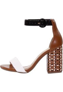 Sandália Week Shoes Salto Grosso Tresse Tricolor Marrom/Preto/Branco