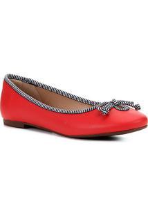Sapatilha Shoestock Laço Gorgurão Feminina - Feminino-Vermelho