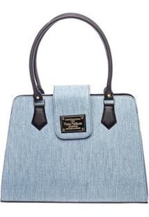 Bolsa Victor Valência Clássica Textura Feminina - Feminino-Azul