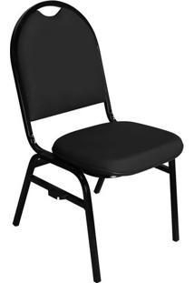 Cadeira Empilhável Fixa Preta Com Encaixe Para Virar Longarina Essencial Hot - Pethiflex