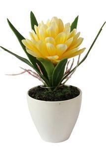 Vaso Com Flor Artificial- Branco & Amarelo- 17Xã˜13Cmbtc Decor