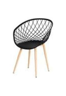 Cadeira Nova Web Preta Base Metal Sala Cozinha Jantar