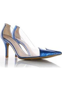 Scarpin Jaqueline Vinil Transparente - Feminino-Azul