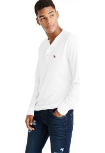 Camiseta Manga Longa Abercrombie Básica Branca