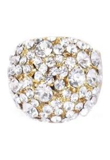 Anel Armazem Rr Bijoux Regulável Cristais Dourado - Feminino-Dourado