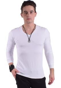 Camiseta Levok Branca Manga Longa Gola V