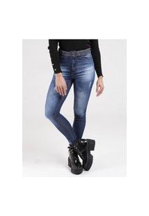 Calça Jeans Estonada Com Cinto Feminina Azul