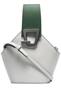 Danse Lente Bolsa Bucket Mini Jonny De Couro Branca - Verde