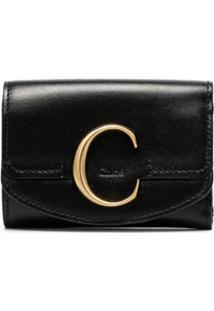 Chloé Carteira Com Detalhe C - Preto