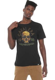 Camiseta Cavalera Caveira Reggae Preta