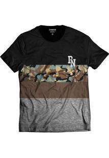 Camiseta Di Nuevo Militar Streetwear Camuflada Cinza Preta