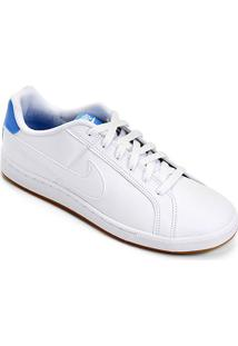 Tênis Couro Nike Court Royale Masculino - Masculino-Branco+Azul Claro