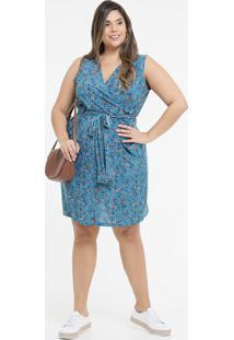 Vestido Feminino Estampa Flores Amarração Plus Size