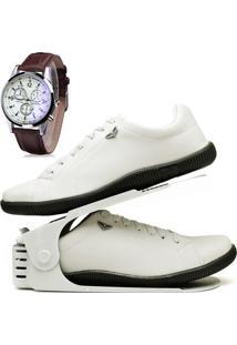 Kit Sapatênis Sapato Casual Com Organizador E Relógio Dubuy 920Db Branco - Kanui