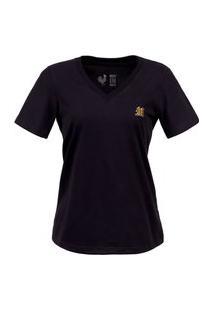 Camiseta Feminina Made In Mato Básica Preta Preto