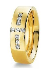 Aliança De Casamento Feminina Em Ouro 18K 750 6Mm Com Pedras Wm Jóias - Feminino