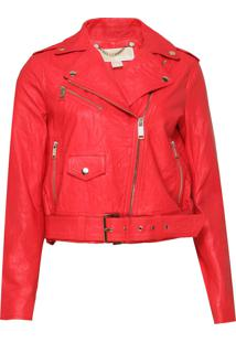 Jaqueta Michael Kors Leather Moto Rosa