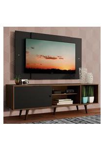 Rack Madesa Dubai Com Pés E Painel Para Tv Até 58 Polegadas - Rustic/Preto 7Kd8 Marrom