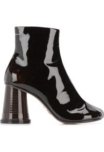Mm6 Maison Margiela Ankle Boot Salto Largo - Marrom