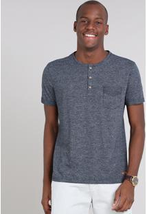 Camiseta Masculina Com Bolso E Botões Manga Curta Gola Careca Azul Marinho
