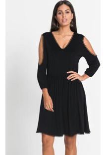 Vestido Com Renda E Recortes Preto