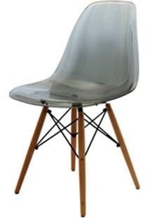 Cadeira Eames Policarbonato Fume Base Madeira 18412 - Sun House