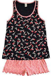 Pijama Feminino Com Regata E Shorts Estampados