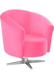 Poltrona Decorativa Angel Suede Rosa Barbie Com Base Estrela Giratória Em Aço Cromado - D'Rossi
