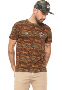 Camiseta New Era Dallas Cowoboys Verde/Caramelo
