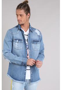Jaqueta Jeans Masculina Destroyed Azul Claro