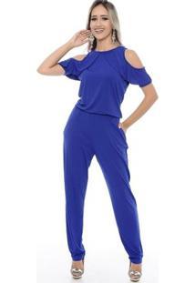 Macacão Longo M/C Ombro Vazado E Um Leve Babado Diana B'Bonnie - Feminino-Azul Royal
